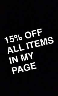 15% Off all items in my page