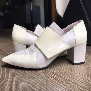 Venilla suite 高根鞋 粗根鞋 皮鞋 white chunky heels/dress shoes