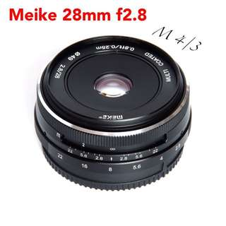 Meike 28mm f/2.8 Fixed Manual Focus Lens for Olympus Panasonic M4/3 System APS-C Mirrorless Camera EM1 M10 EP5 EP-L3 PEN-7 GF5 GF6 GF7