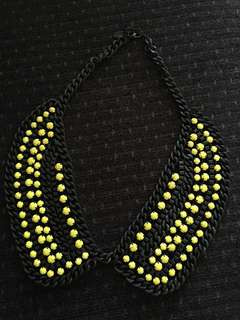 Zara Neon Bead and Metal Chain Collar Necklace