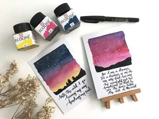 Galaxy / night skies wanderlust watercolor calligraphy cards