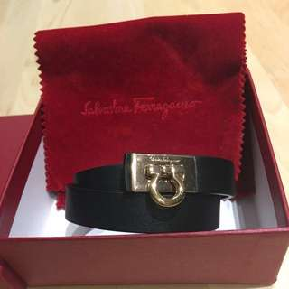 Salvatore Ferragamo Gancini Double Wrap Leather Bracelet 皮手帶