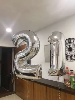 SILVER 2 1 NUMBER BIRTHDAY BALLOONS