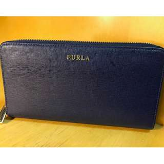 Furla Babylon Leather Zip-Around Wallet Navy Blue