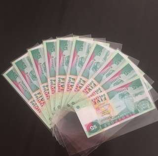 🤗 [ 10 Runs ] Ship Series $5 Notes With Serial Numbers B/25 509901 to B/25 509910 including Radar Number B/25 509905 ⭐️& Nice Fancy Number B/25 509909👍 in Brand New Mint Uncirculated Condition