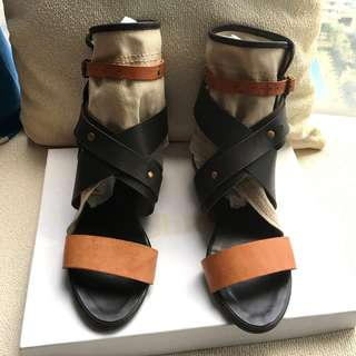Chloe  leather+canvas tri-colors sandals shoes   @Made in Italy @Size 36