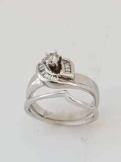 14 KT White Gold Engagement ring w/ Wedding Band