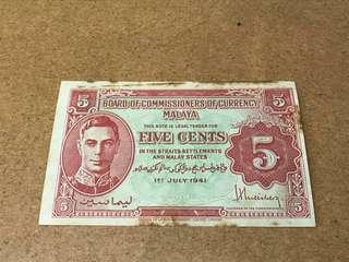 Malaya 1941 5cents