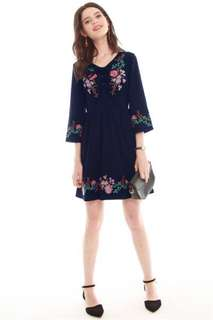 ACW Spring Embroidered Lace Tie Dress in Navy XS