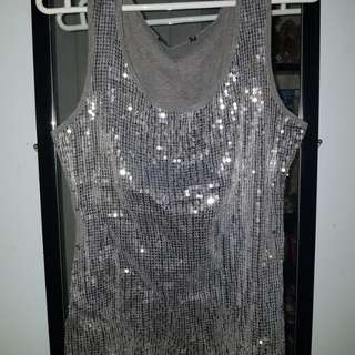 Sequined Top Silver and Gray
