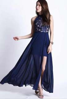 Navy blue racer back Evening Gown