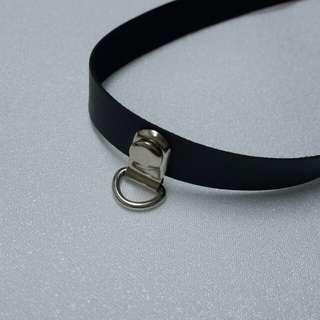 原宿個性黑色皮質環頸鏈頸鍊