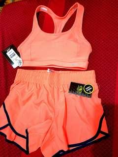 Avia Sport Bra & Athletic Running Short  w/ liner