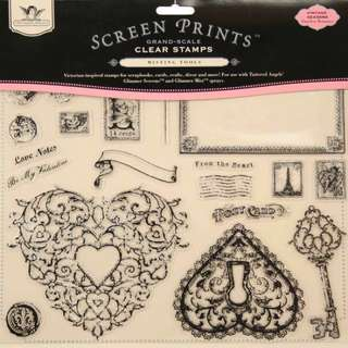 "TATTERED ANGELS Screen Prints Grand Scale Clear Stamps 12""X12"" Sheet-Timeless Romance 22 Pieces"