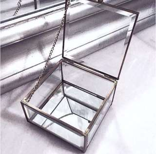 Glass Mirror Gold Brass Jewelry Box Jewellery Display Stand Plate Case