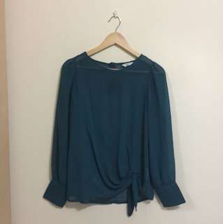 NEW LOOK forest green tie mesh blouse