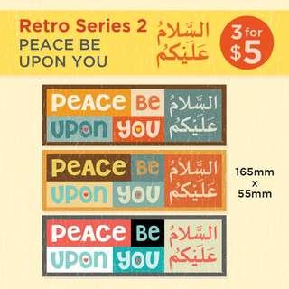 السَّلاَمُ عَلَيْكُمْ Assalaamu'alaikum (Peace Be Upon You) - Islamic Stickers. Salaam. Retro Series 1, 2 & 3. Pls Swipe the image to see more. Stickers are in stock, Alhamdulillah :)