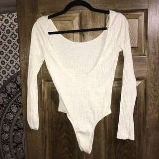 Cream Longsleeve Lowback Bodysuit