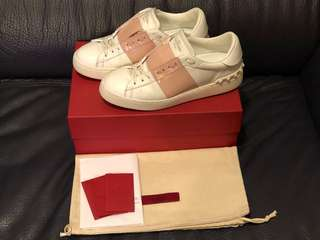 100% Real Valentino Garavani Open Sneakers (White x Dusty Pink) - NOT ALEXANDER MCQUEEN GIVENCHY GUCCI BALENCIAGA NMD YEEZY