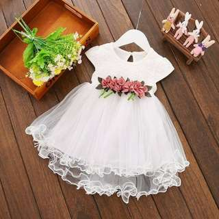 elegant long back dress (white)