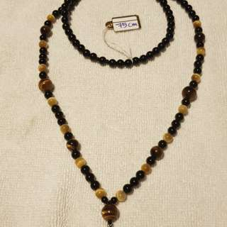Amulet Necklace - Onyx + Tiger Eye