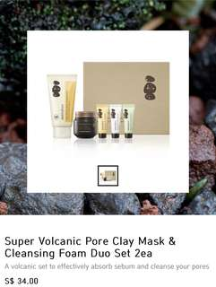 Innisfree super volcanic pore clay mask & cleansing foam duo set