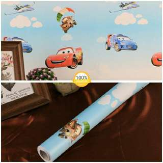 Grosir murah wallpaper sticker dinding murah indah kartun anak mobil mc queen pesawat