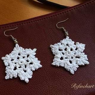 White Glitter Snowflake Crochet Earrings