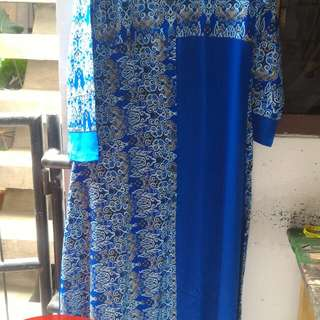 Gamis batik biru