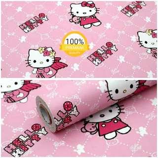 Grosir murah wallpaper sticker dinding indah kartun anak pink hello kitty baju merah
