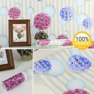 Grosir murah wallpaper sticker dinding indah garis putih buket pink biru