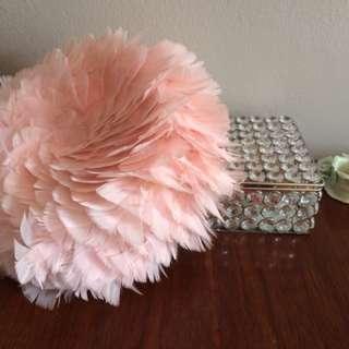 Vintage Pink Feather Pillbox Hat