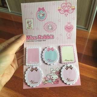 Cute bunny memo notes rabbit kawaii pink sticky pad