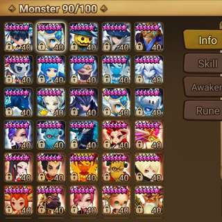 WTS G1 Summoners War Asia *quitting sales* 24 nat5 Tiana Zaiross Perna Alicia Cami