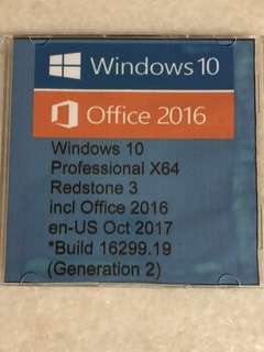 Windows 10 Pro x 64 Redstone 3 include Office 2016 EN-US October 2017 build 16299.19 ( 100% activated)