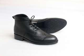 Sepatu Boots Wingtips Pria Kulit Asli Flavio Carrol Hitan