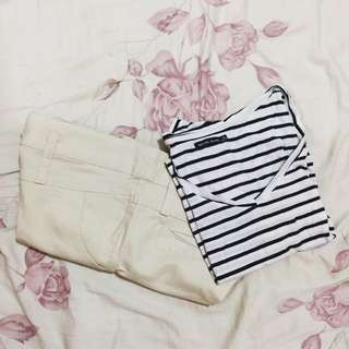 Bershka stripe crop tee& cream shortpants
