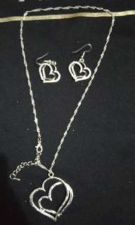 Heart Shape Set Necklace & Earrings