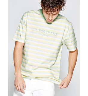 Guess x asap rocky green and yellow striped t tee shirt