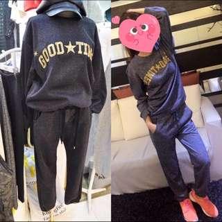 韓國麻藍色質感運動套裝出清