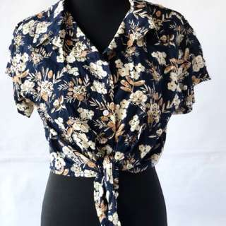 Floral Tie Front Polo