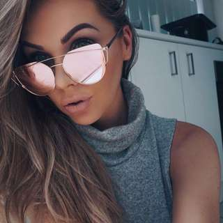 Glowglam Inspired Mirrored Cat Eye Sunglasses - Rose Gold