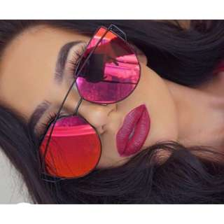 Glowglam Inspired Mirrored Cat Eye Sunglasses - Ruby Red