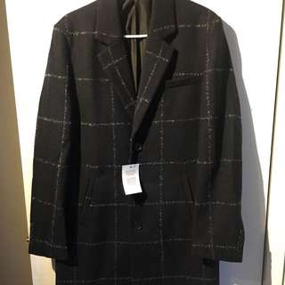 Wool Checked Navy Coat