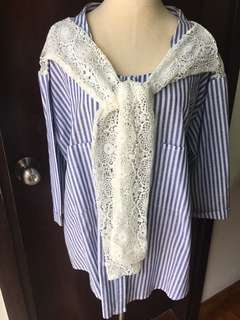 Denim lace striped three quarter sleeve plus sized TOP
