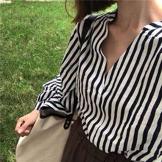 instock | striped oversize shirt