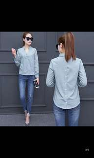 New striped shirt female long-sleeved Korean Slim wild Hong Kong shirt