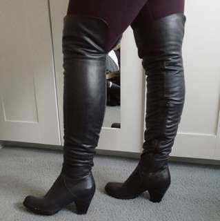 Thigh high black heel boots
