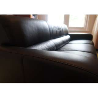 two 3 seater black leather lounges - freedom lawson