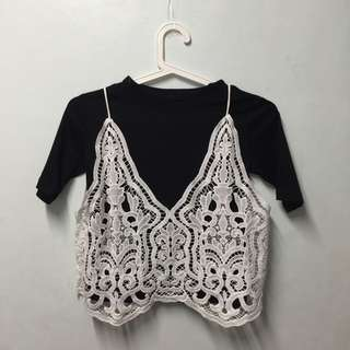 Contrast floral white lace Cami Overlay Tshirt set